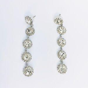 New!Sparkling Crystals Rhinestones Linked Earrings